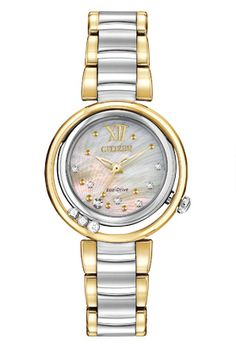 Citizen Women's Eco-Drive L Series Sunrise Diamond Accent Two-Tone Stainless Steel Bracelet Watch Citizen Eco, Ladies Bracelet Watch, Floating, Stainless Steel Bracelet, Quartz Watch, Gold Watch, Jewels, Ebay, Citizen Watches