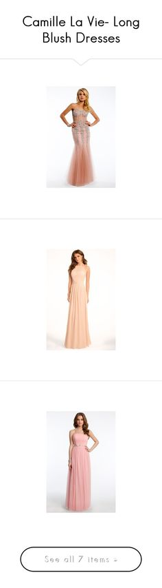 """Camille La Vie- Long Blush Dresses"" by camillelavie on Polyvore featuring dresses, white party dresses, formal cocktail dresses, long evening dresses, long formal dresses, open back cocktail dress, white dress, white sparkly dress, pleated chiffon dress and cocktail party dress"