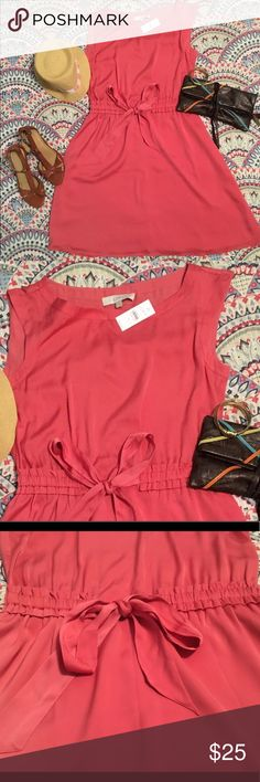 Coral Tie Waist Dress Fully lined coral dress from Loft. Attached tie-belt and rouched waistband allows you to adjust the fit. Hits above the knee. Great for a wedding or can even be worn to work. LOFT Dresses