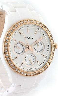 #Fossil Watch , Fossil Stella White Rose Gold-Tone Women's Watch ES2869