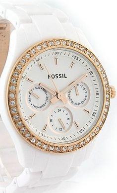 #Fossil Watch , Fossil Stella White Rose Gold-Tone Women's Watch ES2869