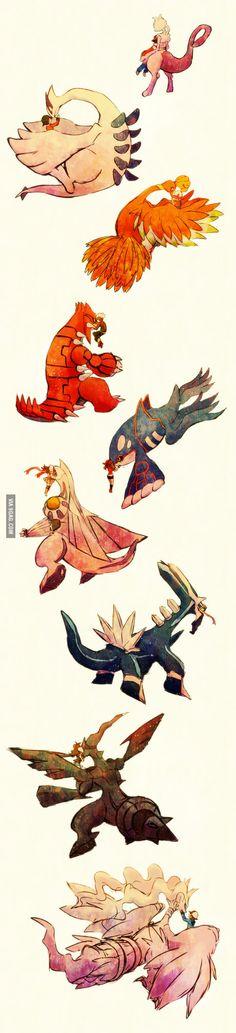 Legendaries and Trainers: Kanto (1), Jhoto (2), Hoenn (2), Sinnoh (2), and Unova (2)