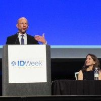 In the face of extensive research showing that HIV-positive people on antiretroviral therapy (ART) with stable undetectable viral load have an extremely low likelihood of transmitting the virus, a majority of participants at IDWeek 2016 in New Orleans thought they should still be advised to use condoms   Roy Gulick and Lisa Winston at IDWeek 2016 (Photo: Liz Highleyman)