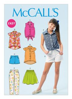 McCall's Sewing Pattern Girls'/Girls' Plus Collared Tops, Skirt, Shorts and Pants Sewing Patterns Girls, Mccalls Sewing Patterns, Kids Patterns, Clothing Patterns, Dressmaking Fabric, Make Your Own Clothes, Dress Making Patterns, Pants Pattern, Sewing Clothes