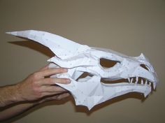 PEPAKURA - Skyrim dragon skull 2 by distressfasirt on DeviantArt Cardboard Mask, Cardboard Sculpture, Origami Tattoo, Dragon Mask, Dragon Head, Cosplay Armor, Cosplay Diy, Skyrim Dragon, Shrek Dragon