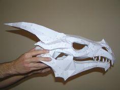 PEPAKURA - Skyrim dragon skull 2 by distressfasirt on DeviantArt Origami Tattoo, Dragon Mask, Dragon Head, Skyrim Dragon, Shrek Dragon, Dragon Puppet, Foam Armor, Cardboard Sculpture, Cardboard Mask