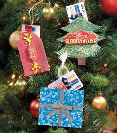Holiday Paper Card Ornaments - so cute! #DIY with supplies from Joann.com or JoAnn Fabric and Craft stores.