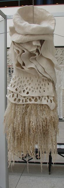 "Sharit van den Meer_Exibition ""Eventyrlig filt"" in Odense 2011 // Textile Texture, Textile Fiber Art, Textile Artists, Nuno Felting, Needle Felting, Art Fibres Textiles, Sculpture Textile, Diy Accessoires, Fabric Manipulation"