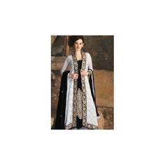 Black & White Embroidered Anarkali Suit