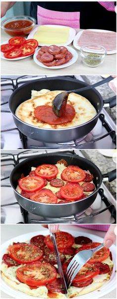 Pizza de FRIGIDEIRA DE 4 MINUTOS ! #pizza #massas Good Food, Yummy Food, Tasty Kitchen, Recipes From Heaven, Food Humor, Easy Cooking, Finger Foods, Food Porn, Food And Drink