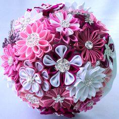 """Wedding Bouquet, brooch bouquet """"Pink Dream"""", Pink, Crimson, Burgundy and White"""