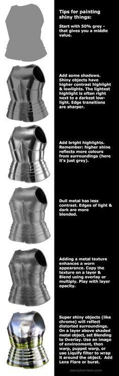 Such a great simple/straightforward tutorial on shiny metals!  By Nancy Harrison: http://www.nancyharrison.com/