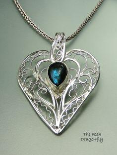 Silver Filigree Heart Pendant with labradorite