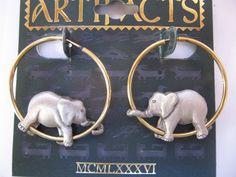 Jonette Jewelry Vintage Elephant Hoop Earrings by SideEffectsNY, $19.00