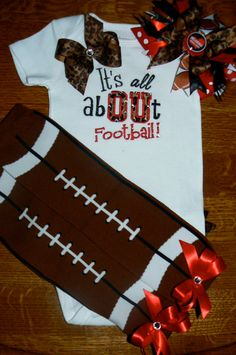 Its All AbOUt Football - Applique Ruffle Butt Onesie, Bow and Leg Warmer Set
