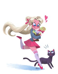 starrybitz:  A drawing of Usagi and Luna…and candy!