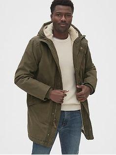 Gap Men's Sherpa-Lined Fishtail Parka Canyon Brown Shirt Jacket, Bomber Jacket, Mens Sherpa, Sherpa Lined, Military Jacket, Raincoat, Mens Fashion, Long Sleeve, Moda Masculina