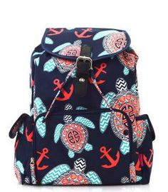 Monogram Backpack Personalized Anchor Turtle Diaper Bag