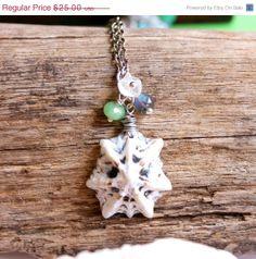 ON SALE Gemstone & Seashell Necklace by MermaidTearsDesigns, $22.50