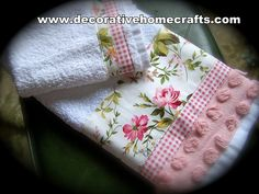Shabby chic fabric-trimmed bathroom towels by Created by Cath at decorativehomecrafts.com via Flickr