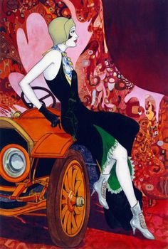 Puzzle Art Deco - Dáma na slunci from the Art Beads board, shows the fashion and style of illustration for the period. Arte Art Deco, Art Deco Artists, Estilo Art Deco, Art Deco Era, Posters Vintage, Retro Poster, Vintage Art, Vintage Country, Art And Illustration