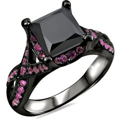 2.50ct Black Princess Cut Diamond Pink Sapphire Engagement Ring 18k Black Gold / Front Jewelers
