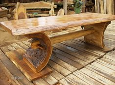 Fine Wood Table Designs Look around as you move throughout your day. You see examples of man's mastery of woodworking everywhere. From mailbox posts to pieces of furniture and art to full buildings, the power to use wood to create is Rustic Log Furniture, Live Edge Furniture, Cool Furniture, Furniture Buyers, Cabin Furniture, Western Furniture, Furniture Websites, Furniture Design, Ideas Para Trabajar La Madera