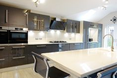 Gloss Grey Kitchen from Premier Kitchens visit http://www.premier-kitchens.co.uk to book a free, no-obligation 3D plan and design for your kitchen