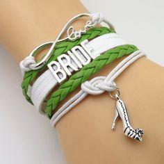 Infinity Love Green White Wedding Party Bracelets