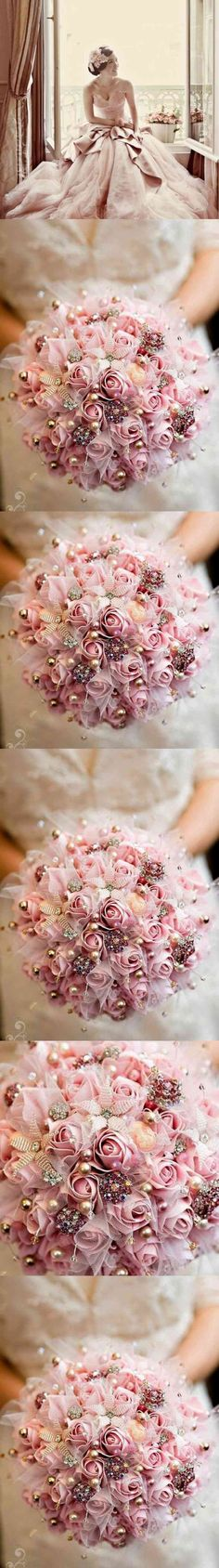 Fabric Wedding Bouquet, Brooch Wedding, Winter wedding, Bridal, Bridesmaids, Romantic Bride,Pink flowers Bouquet, Coco Chic Fresh and Modern  The Alexa ~ Hand made Bouquet is romantically is a simple fresh and modern design. Imaginary of a girls charm and elegance makes this hand made silk flowers bridal bouquet with pearls and small crystal  brooches  one the best (...) / This is my custom signature... This is my custom signature... This is my custom signature... This (...) (via…