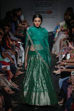Green Bridal Lengha by Sanjay Garg at Lakme Fashion Week 2014 Indian wedding outfit Green Wedding Dresses, Bridal Dresses, Wedding Outfits, Bridal Bouquets, Indian Bridal Wear, Indian Wear, Indian Style, Indian Dresses, Indian Outfits