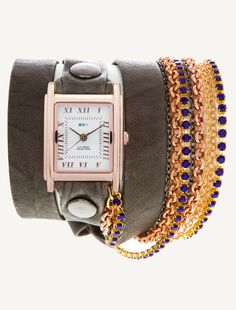 La Mer Watches: Sapphire Crystal Chain Rose Gold Square Wrap Watch