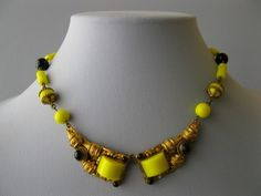 1930's Art Deco Czech Yellow Onyx Glass Necklace