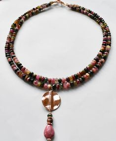 Elegant necklace with Tourmaline and rose Vermeil findings