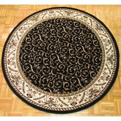 Shop for Admire Home Living Amalfi Black Scroll Oriental Area Rug Round) - Round. Get free delivery On EVERYTHING* Overstock - Your Online Home Decor Store! Get in rewards with Club O! Small Area Rugs, Round Area Rugs, Scroll Pattern, Red Pattern, Polypropylene Rugs, Transitional Rugs, Indoor Rugs, Home Decor Outlet, Online Home Decor Stores