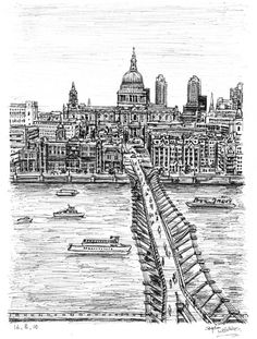 Millennium Bridge - drawings and paintings by Stephen Wiltshire MBE
