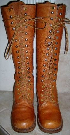 Vintage 70S Lace up Campus Riding Distressed BoHo Knee High Leather Boots