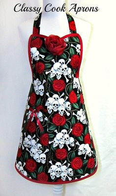 Apron SKULLS & ROSES Red and Black SEXY Goth by ClassyCookAprons, $38.50