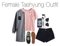 """Female Taehyung Outfit"" by kookiechu ❤ liked on Polyvore featuring WithChic, Vans, Skullcandy and Quay"