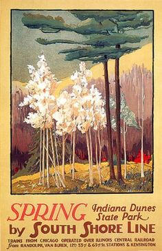 SPRING INDIANA DUNES STATE PARK SOUTH SHORE LINE CHICAGO ILLINOIS SMALL VINTAGE POSTER REPRO by WONDERFULITEMS, http://www.amazon.com/dp/B001TIMFLY/ref=cm_sw_r_pi_dp_k7vhqb1C4GJ3Y
