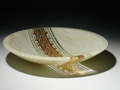 Amber Feathers Stripe Bowl: Patti & Dave Hegland: Art Glass Bowl - Artful Home