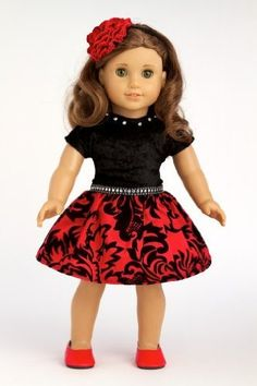 DreamWorld Collections Holiday Spirit - Holiday red taffeta party dress with red shoes - American Girl Doll Clothes : Special Occasion Doll Dresses