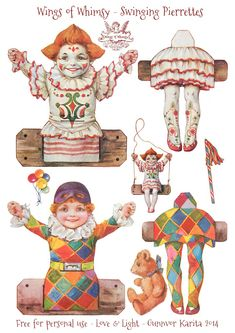 Wings of Whimsy: Swinging Pierrettes - free printable #vintage #ephemera #freebie #valentine #circus #clown #pierrette #columbine #harlequin...