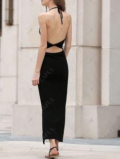 Black Side Slit Halter Maxi Dress