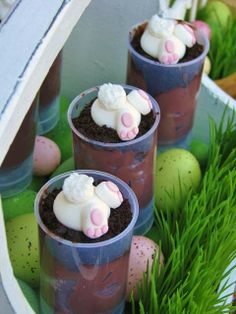 Cute Cotton Tail Confections 2.  Chocolate pudding and crushed oreos