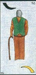 52- L'HOMME AGE - Carte NEUTRE : Homme de plus de 65 ans. A l'endroit, brun. A l'envers, blond - Personnalité : Personne râleuse, ronchon. Personne qui a de  vieilles manies. Personne pleine de principes, attachée aux traditions. http://othoharmonie.unblog.fr/category/oracle-ge/