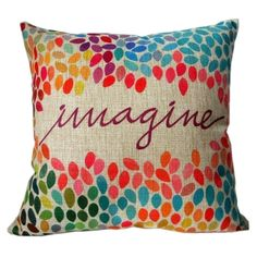 "Amazon.com: HOSL Cotton Linen Square Decor Throw Pillow Case Cushion Cover Colorful Imagine 18"": Bedding & Bath"