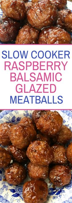 Slow Cooker Raspberry Balsamic Glazed Meatballs - the perfect appetizer for any party!
