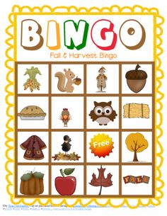 ** USE CANDY CORN OR OTHER FALL CANDY AS MARKERS** HAVE THEM SEPARATED IN SANDWICHES BAGS READY TO GO*** (LAMINATE)  free fall and harvest time bingo game from Wise Owl Factory, on the site not on a store