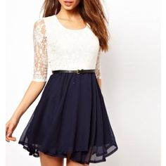 Abody Sexy Summer Women Chiffon Dress Lace Top Mini Dress Skater Cute Casual at Amazon Women's Clothing store: